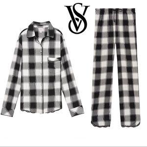 NWT Victoria's Secret Flannel PJ Top & Pant set M